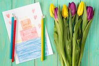 Greeting card and bouquet of tulips
