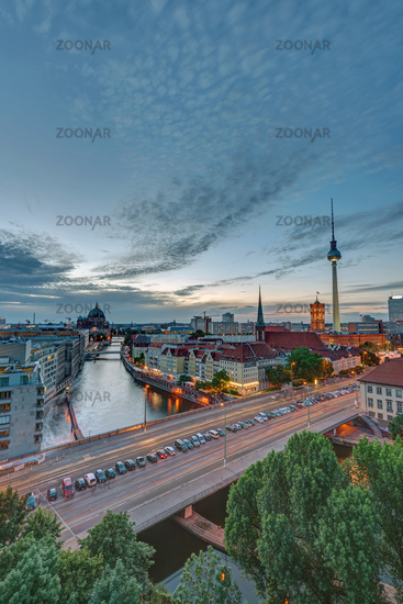 Dusk at downtown Berlin with the famous Television Tower in the back