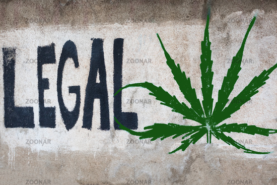 Graffiti with the message to legalize cannabis