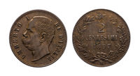 King Umberto I Kingdom of Italy 2 cent Lire copper coin 1897