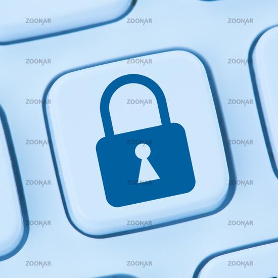 Computer Sicherheit Internet Schloss Symbol online sicher surfen blau web