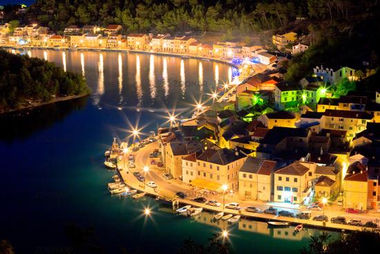 Novigrad Dalmatinski waterfront at evening aerial view