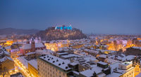 Aerial panoramic view of Ljubljana decorated for Christmas holidays, Slovenia, Europe.