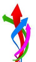 Vibrant color coiling arrows upward