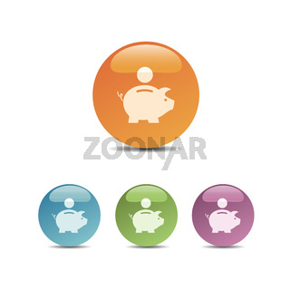 Piggy bank icon on colored bubbles