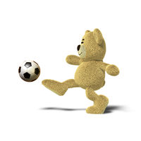 Nhi Bear kicking a soccer ball, Side