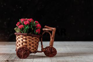 Roses on wooden floor.
