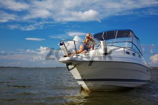 beautiful blonde on yacht