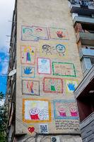 Childish graffiti on the block