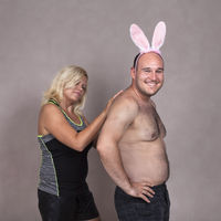 Funny couple with bunny ears