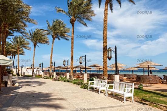 Embankment along the beach in Makadi, Egypt