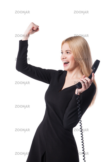 happy confident businesswoman talking on the  phone
