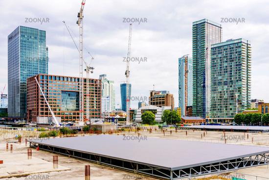 Construting area of canary wharf