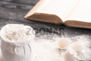 Bag of flour and a cookbook