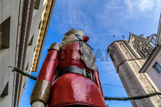 The world's biggest nutcracker at the entrance to the Christmas market in Braunschweig, Germany