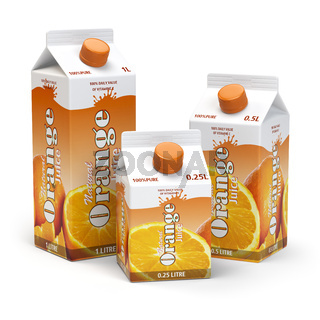 Orange juice carton cardboard box pack isolated on white background.