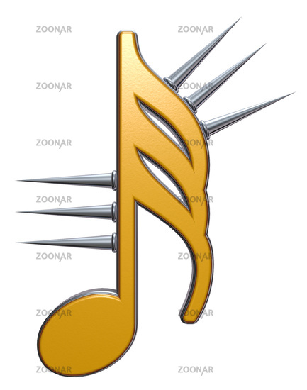 musical note with spikes on white background - 3d illustration