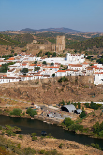 Mertola town as seen from the high opposite riverside of the Guadiana. Portugal