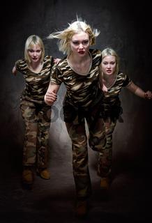 Running military women