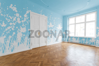 Empty room with painted blue walls