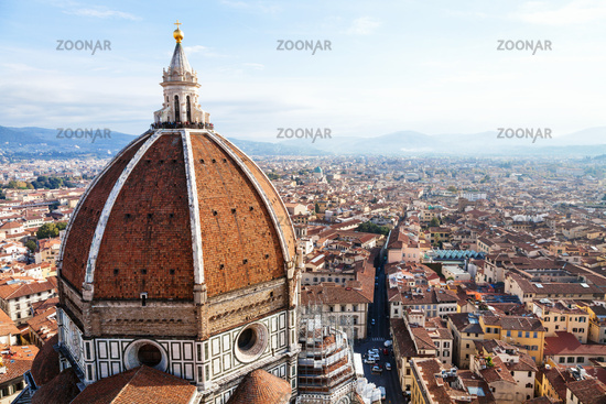 above view Dome of Cathedral and Florence town