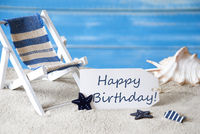 Summer Label With Deck Chair And Text Happy Birthday