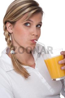 Healthy lifestyle series - Woman drinking orange juice