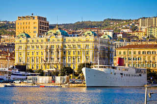City of Rijeka waterfront boats and architecture view