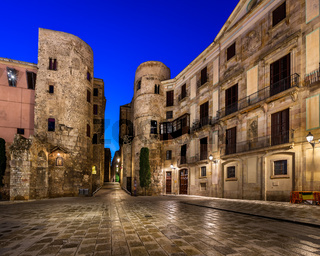 Ancient Roman Gate and Placa Nova in the Morning, Barcelona, Catalonia, Spain