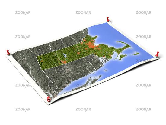 Massachusetts on unfolded map sheet.