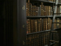 Antique Books and Ladder in Library