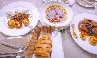 Specific Slovenian food with meat and sauces