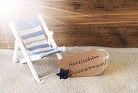 Summer Sunny Label, Glueckwunsch Means Congratulations