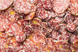 Tasty sliced salami.