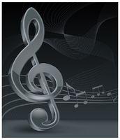 Grey treble clef on black
