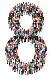 Zahl Ziffer 8 acht Leute Menschen People Gruppe Menschengruppe