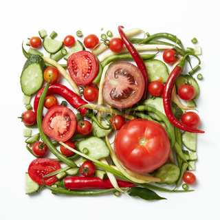 square frame of raw vegetables