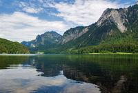 Panoramic view of Alpsee lake