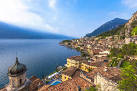 Popular travel destination, Limone on lake Garda, Brescia, Lombardy, Italy