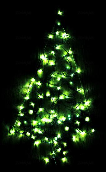 Green Bright Glowing Christmas Tree