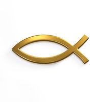 Gold Christ Fish . 3D Render Illustration