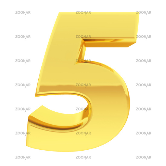 Gold number 5 with gradient reflections isolated on white. High resolution 3D image
