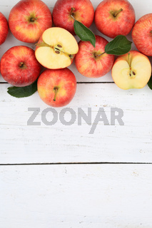 Äpfel Apfel rot Obst Frucht Früchte hochkant Textfreiraum von oben