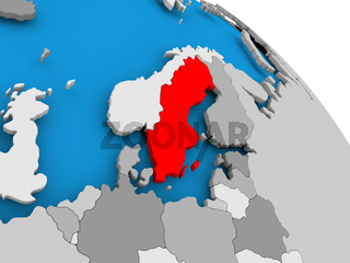 Sweden in red on map