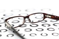 Glasses on eye test