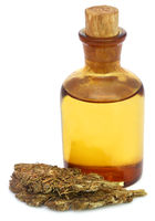 Medicinal cannabis with extract oil in a bottle