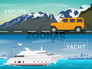 Travel by sea and land. Yacht in the bay of tropical islands. Jeep in the mountains on the road. Tourism banner
