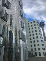 Facade of famous Gehry buildings Dusseldorf
