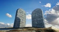 Ten commandments stones, viewed from ground level in dramatic perspective.