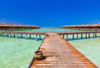 Water bungalows on tropical Maldives island